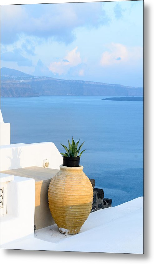 Greece Metal Print featuring the photograph Blue And White by Zoomclickboom Studio