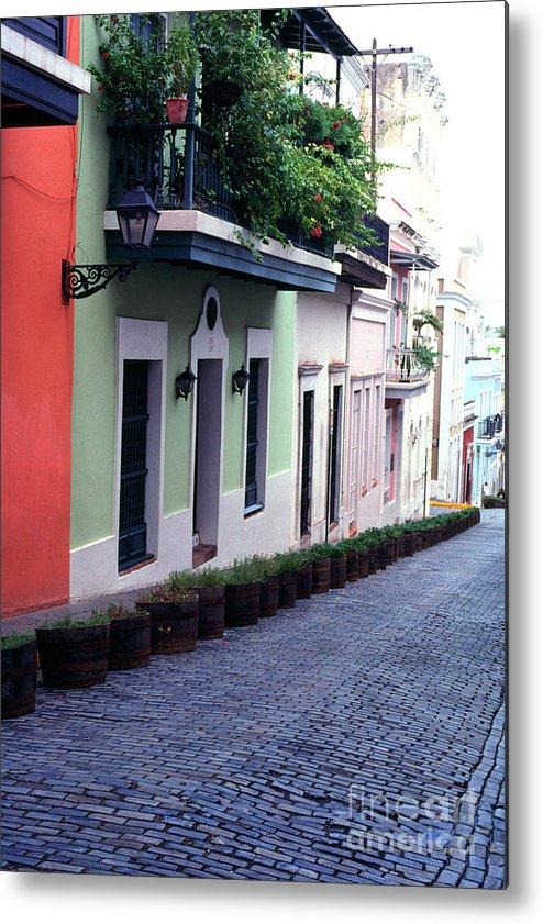 Puerto Rico Metal Print featuring the photograph Blue Brick Street Old San Juan by Thomas R Fletcher