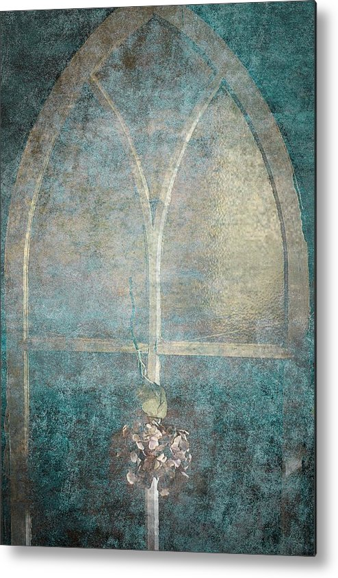 Window Metal Print featuring the photograph Blue Church Window And Hydrangea by Suzanne Powers