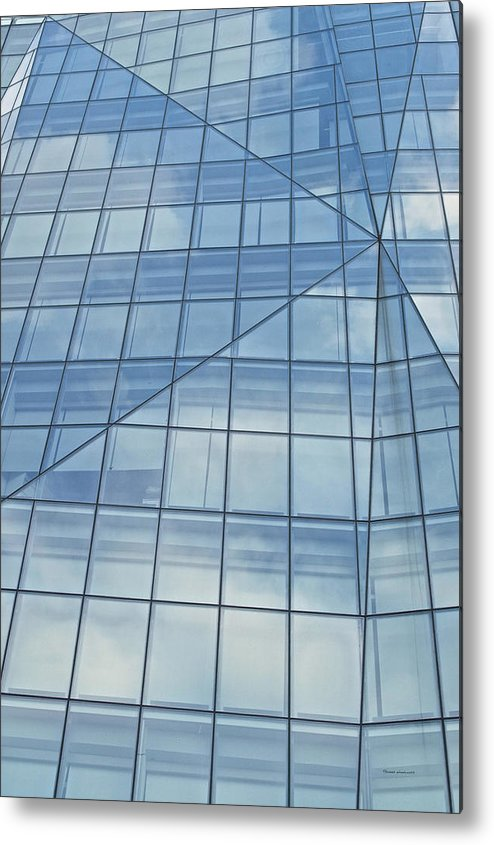 Chicago Metal Print featuring the photograph Blue Glass Chicago Facade by Thomas Woolworth