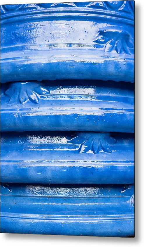 Abstract Metal Print featuring the photograph Blue Pots by Tom Gowanlock