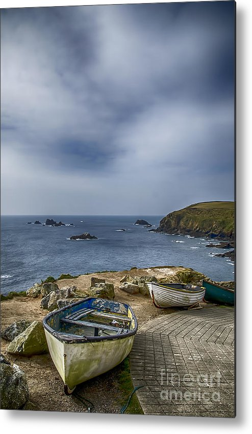 The Lizard Metal Print featuring the photograph Boats At The Lizard by Chris Thaxter