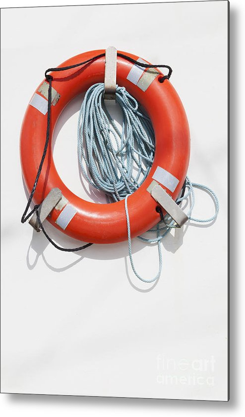 Charleston Marina Metal Print featuring the photograph Bright Life Saving Ring by Bryan Mullennix