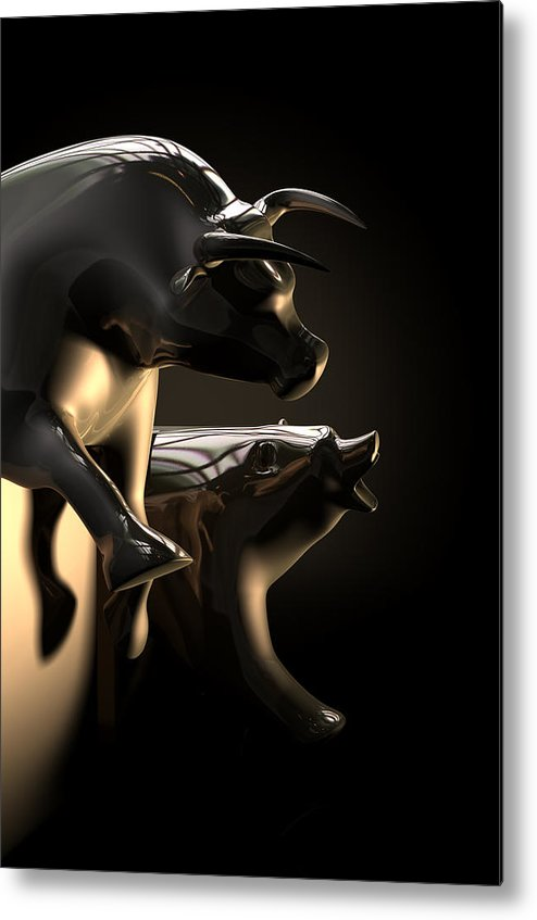 Bull And Bear Stock Market Statues Metal Print By Allan Swart