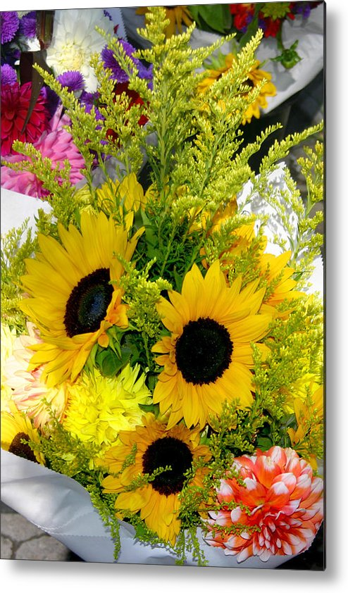 Sunflowers Metal Print featuring the photograph Bunch Of Sunflowers by Wendy Raatz Photography