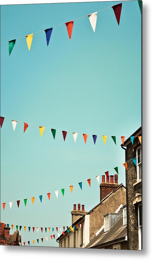 Blue Metal Print featuring the photograph Bunting by Tom Gowanlock