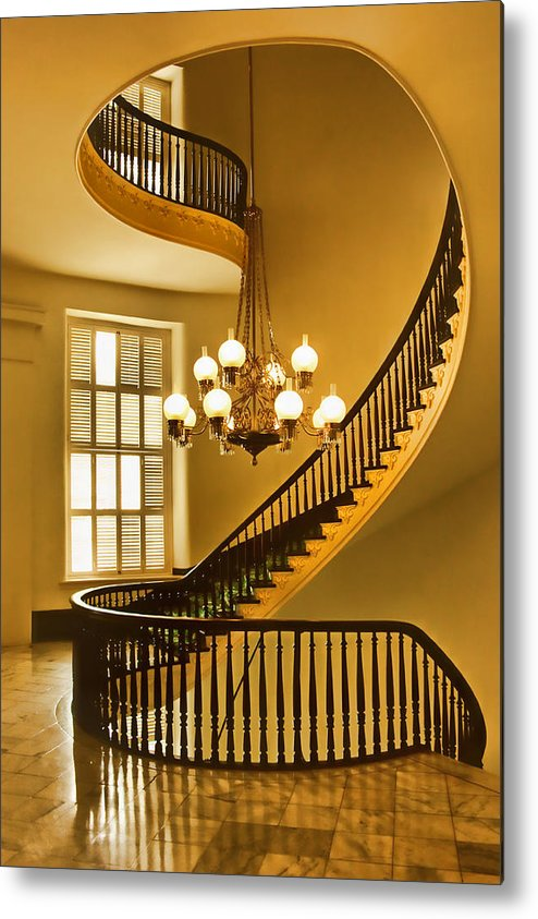 Spiral Staircase Metal Print featuring the photograph 2 - Capitol Staircase - Montgomery Alabama by Nikolyn McDonald