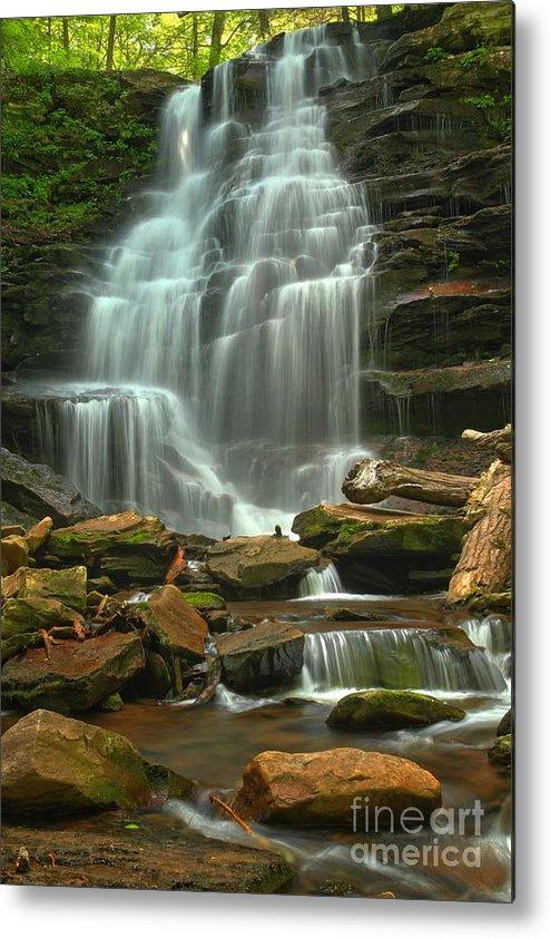 Ricketts Glen Waterfalls Metal Print featuring the photograph Cascading Through Ricketts Glen by Adam Jewell