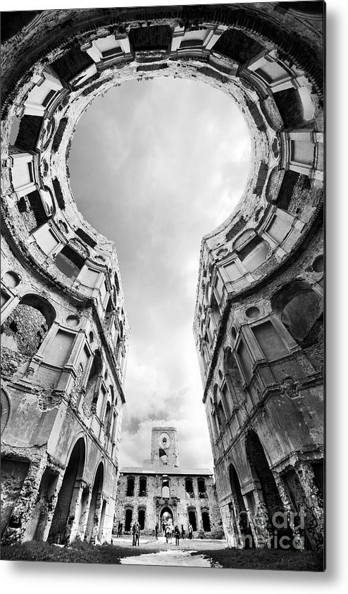 Blaminsky Metal Print featuring the photograph Castle Keyhole In Black And White by Jaroslaw Blaminsky