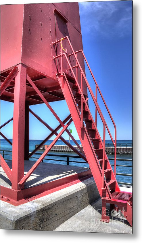 Charlevoix Metal Print featuring the photograph Charlevoix Lighthouse Steps by Twenty Two North Photography