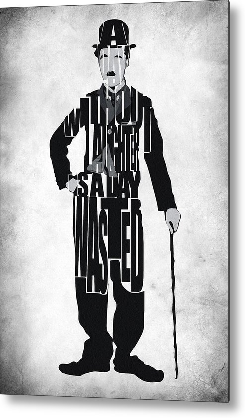 Charlie Chaplin Metal Print featuring the painting Charlie Chaplin Typography Poster by Ayse and Deniz