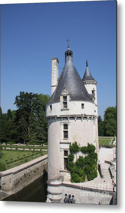 Tower Metal Print featuring the photograph Chateau Chenonceau Tower And Moat by Christiane Schulze Art And Photography