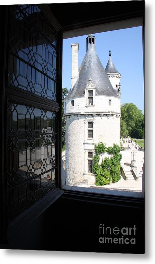 Tower Metal Print featuring the photograph Chateau Chenonceau Tower Through Open Window by Christiane Schulze Art And Photography
