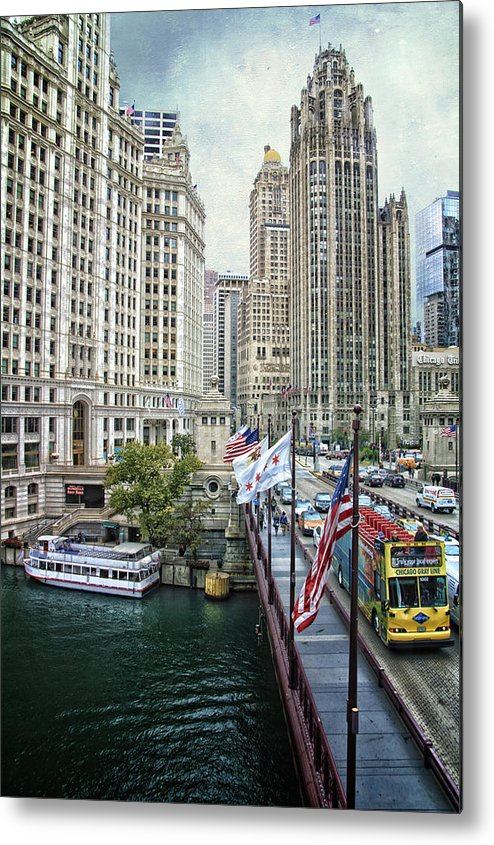 Chicago Metal Print featuring the mixed media Chicago Michigan Avenue V Hdr Textured by Thomas Woolworth