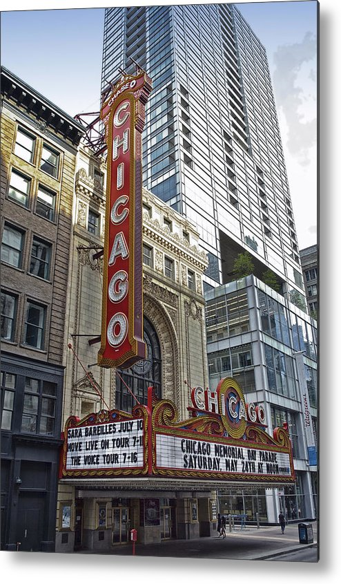 Chicago Metal Print featuring the photograph Chicago Theater Facade Northside by Thomas Woolworth