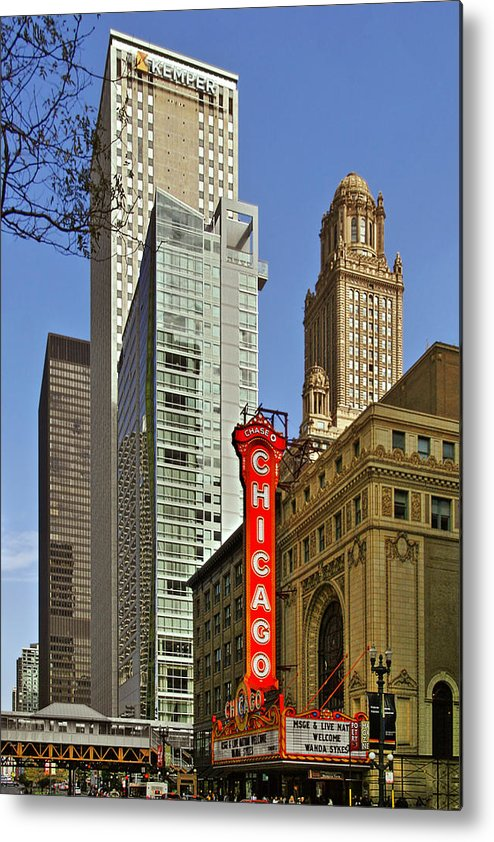Chicago Metal Print featuring the photograph Chicago Theatre - This Theater Exudes Class by Christine Till