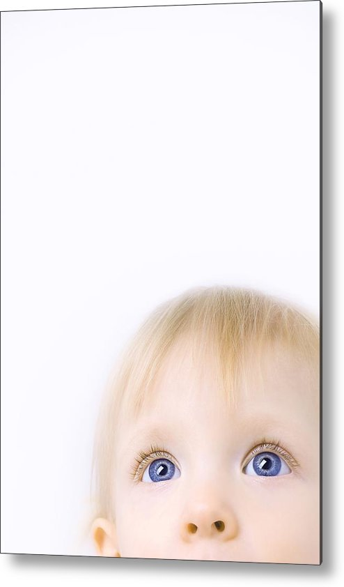 Blue Eyes Metal Print featuring the photograph Child Looking Up by Chris and Kate Knorr