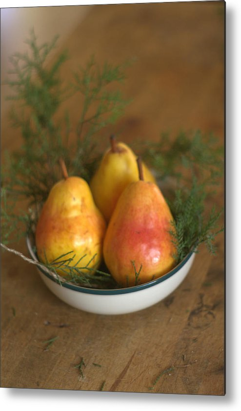 Christmas Metal Print featuring the photograph Christmas Pears In A Bowl by Suzanne Powers