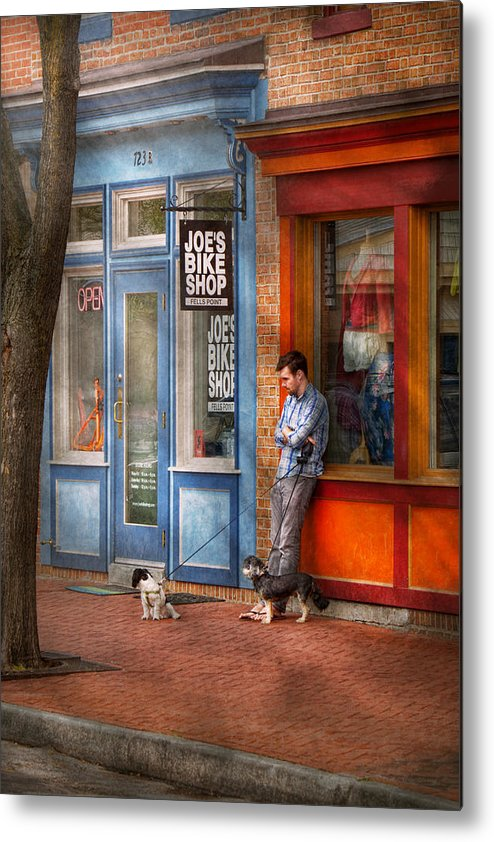 Baltimore Metal Print featuring the photograph City - Baltimore Md - Waiting By Joe's Bike Shop by Mike Savad