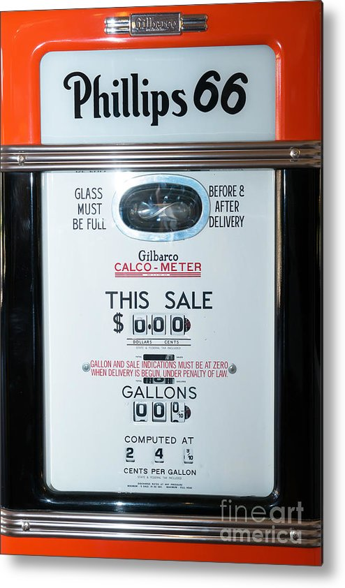 Route 66 Metal Print featuring the photograph Classic Vintage Gilbarco Phillips 66 Gas Pump Dsc02751 by Wingsdomain Art and Photography