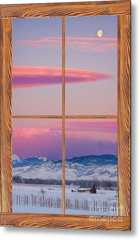 Windows Metal Print featuring the photograph Colorado Moon Sunrise Barn Wood Picture Window View by James BO Insogna