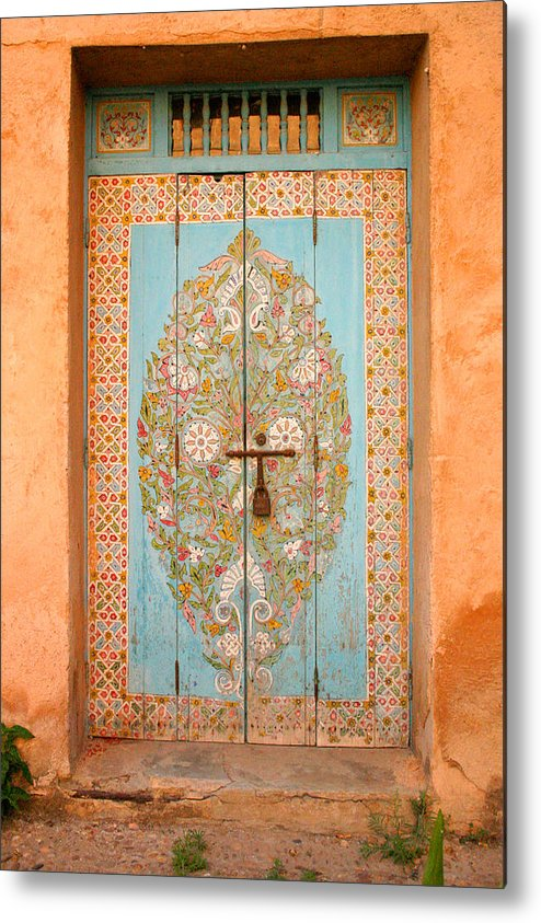 Door Metal Print featuring the photograph Colourful Moroccan Entrance Door Sale Rabat Morocco by Ralph A Ledergerber-Photography