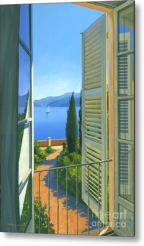 Lake Como Metal Print featuring the painting Como View by Michael Swanson