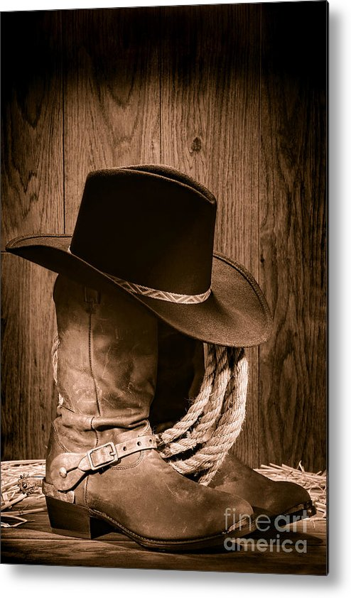 Boots Metal Print featuring the photograph Cowboy Hat And Boots by Olivier  Le Queinec 2817c5b3bec7