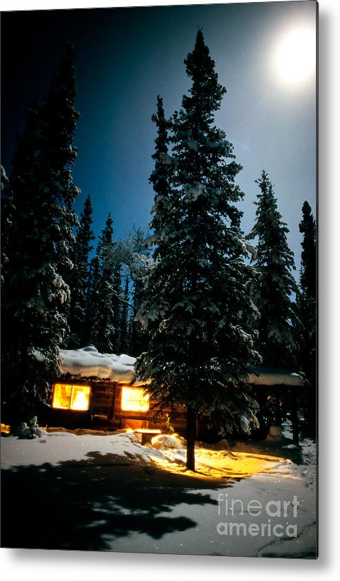 Backlit Metal Print featuring the photograph Cozy Log Cabin At Moon-lit Winter Night by Stephan Pietzko