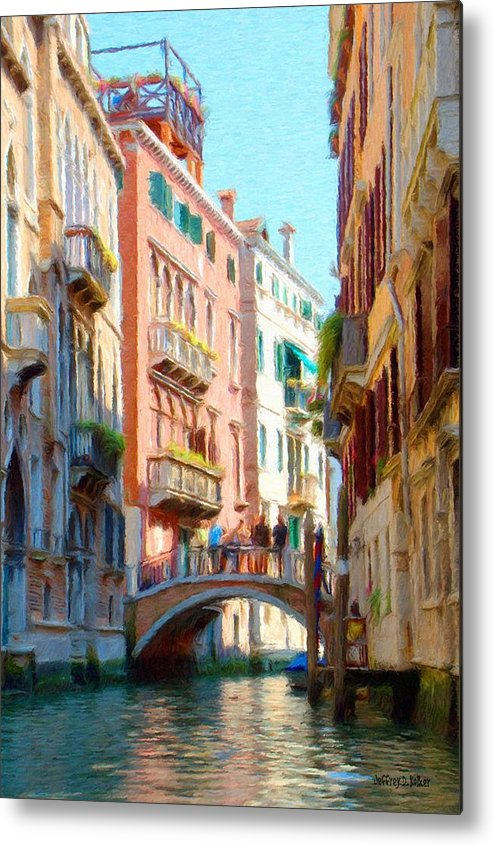 Adriatic Metal Print featuring the painting Crossing The Canal by Jeff Kolker