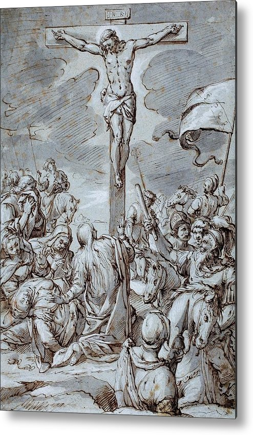 Crucifixion Metal Print featuring the drawing Crucifixion by Johann or Hans von Aachen