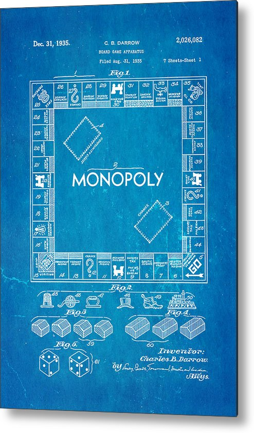 Darrow monopoly board game patent art 1935 blueprint metal print by famous metal print featuring the photograph darrow monopoly board game patent art 1935 blueprint by ian malvernweather Image collections