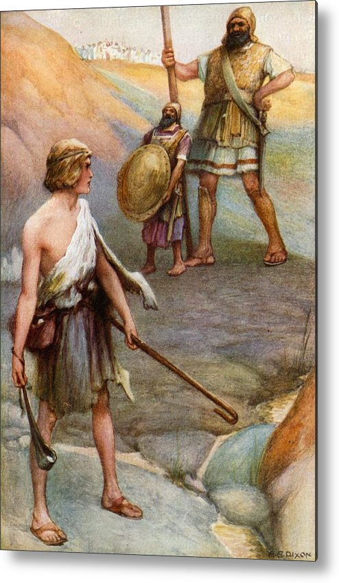 Bible Metal Print featuring the painting David And Goliath by Arthur A Dixon