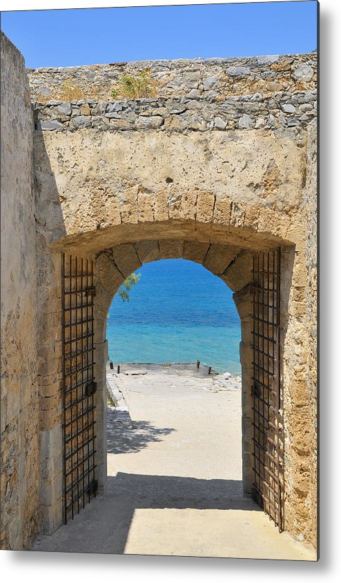 Serenity Metal Print featuring the photograph Door To Joy And Serenity - Beautiful Blue Water Is Waiting by Matthias Hauser