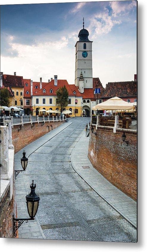 Lesser Square Metal Print featuring the photograph Downtown Of Sibiu Transylvania by George Cristea