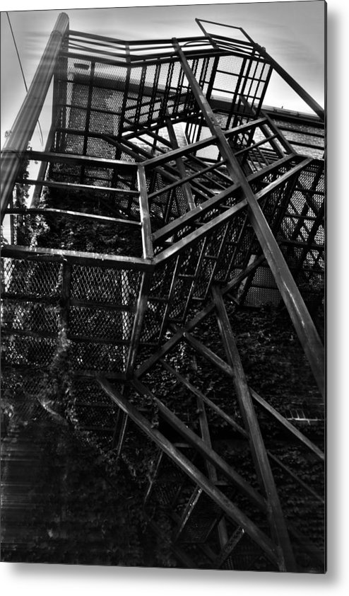 Black And White Photograph Metal Print featuring the photograph Downtown Stairs by Kenal Louis