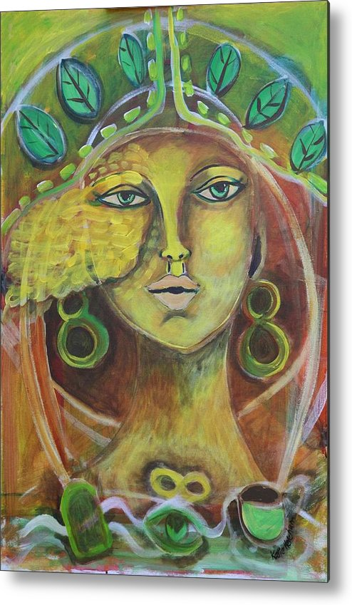 Green Metal Print featuring the painting Dream Portals by Katie Ketchum
