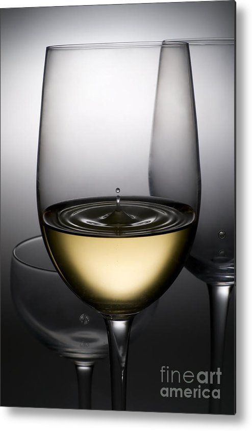 Abstract Metal Print featuring the photograph Drops Of Wine In Wine Glasses by Setsiri Silapasuwanchai