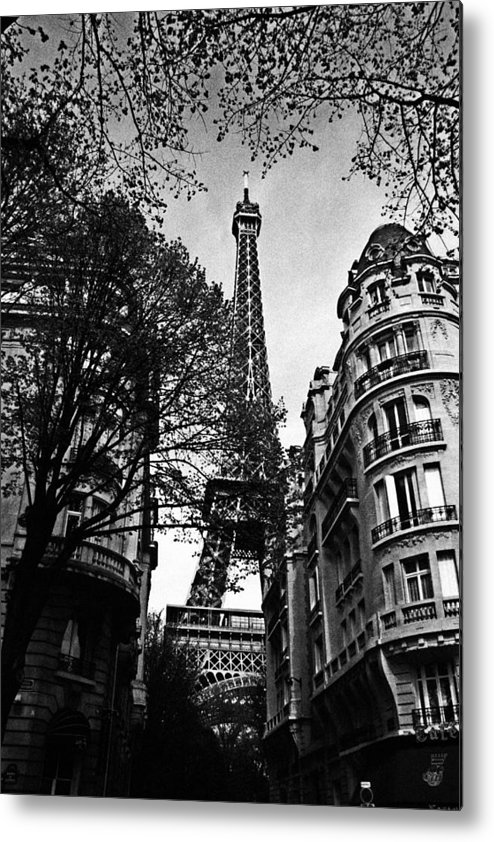 Paris Metal Print featuring the photograph Eiffel Tower Black And White by Andrew Fare
