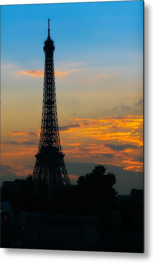 Paris Metal Print featuring the photograph Eiffel Tower Sunset Portrait by Kirk Strickland