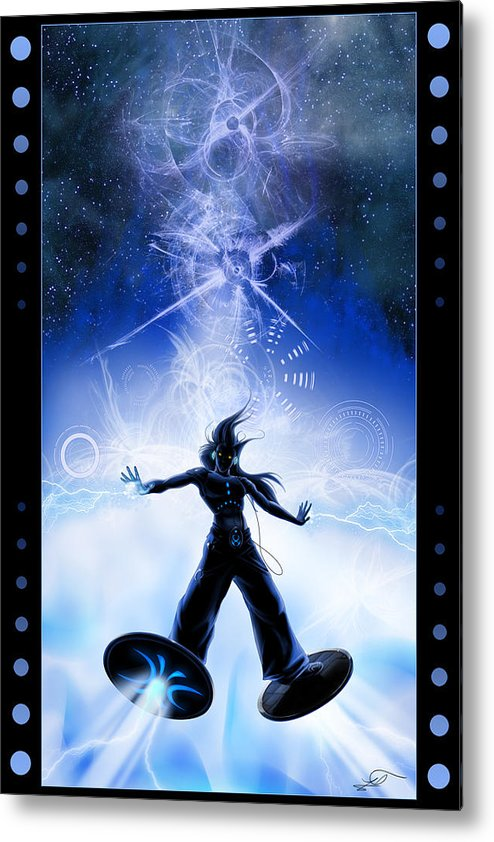 Techno Metal Print featuring the digital art Electronica by Lia Smazik