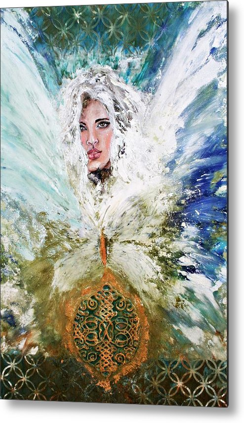 Angels Metal Print featuring the painting Emerging Angel Of Light by Alma Yamazaki