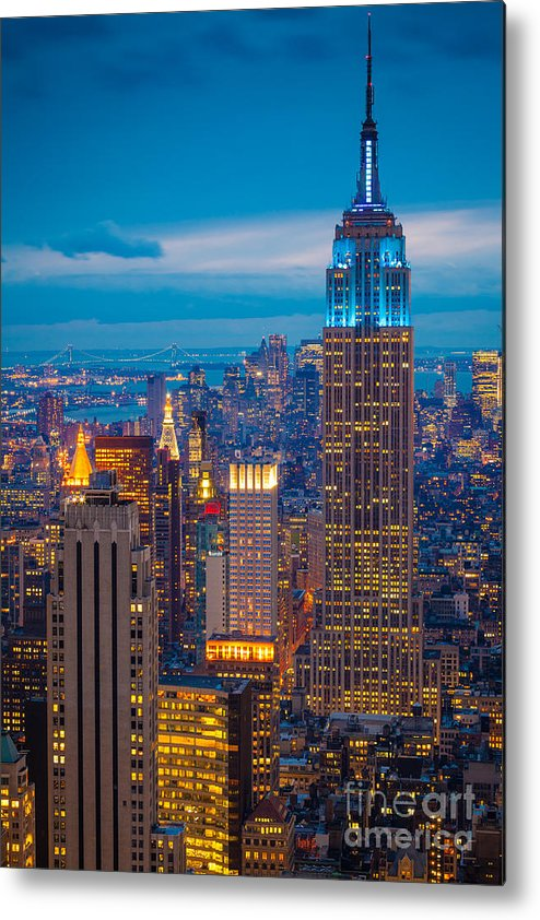 America Metal Print featuring the photograph Empire State Blue Night by Inge Johnsson