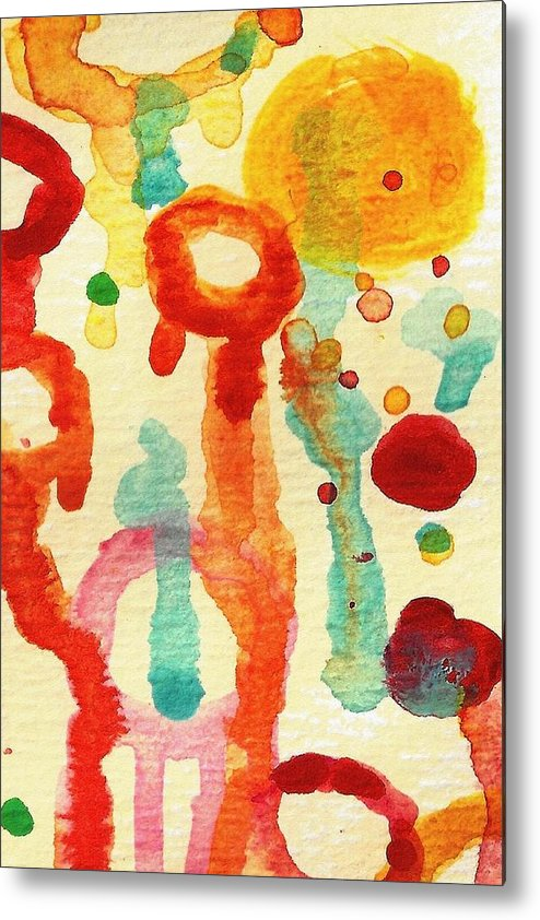 Abstract Metal Print featuring the painting Encounters 1 by Amy Vangsgard