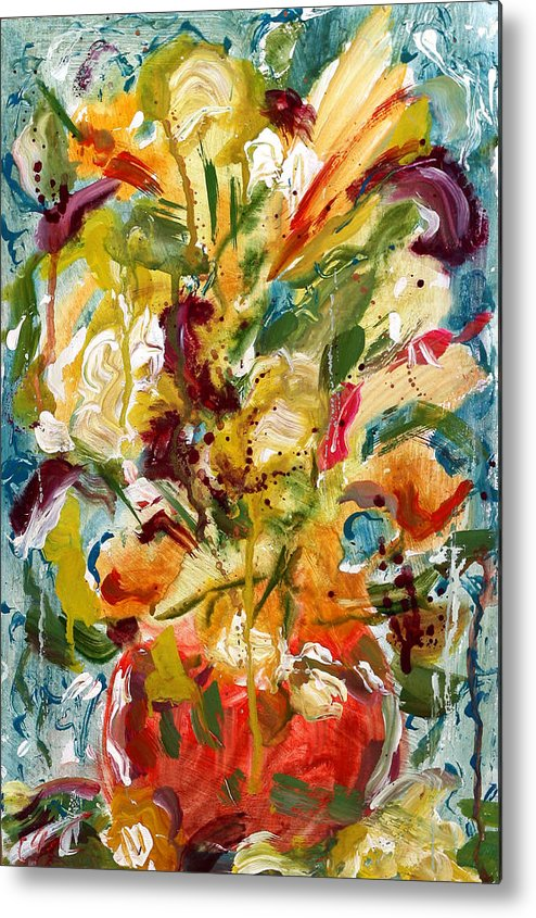 Abstract Vase Flower Print Metal Print featuring the painting Fantasy Floral 1 by Carole Goldman