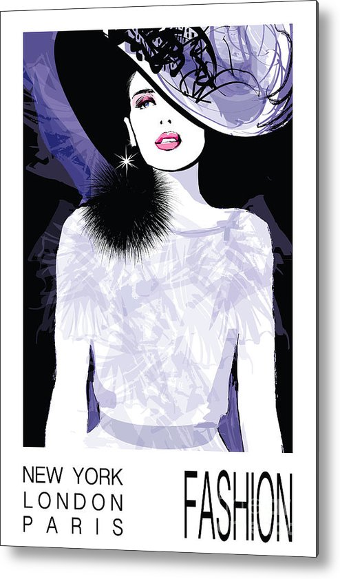 Dress Metal Print featuring the digital art Fashion Woman Model With A Black Hat - by Isaxar