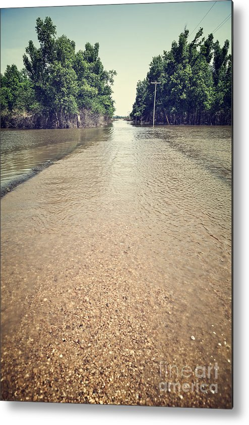 Acts Of God Metal Print featuring the photograph Flooded Road by Leslie Banks