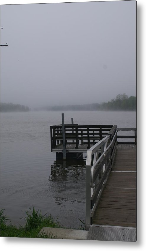 Dock Metal Print featuring the photograph Foggy Lake by Lonnie Niver