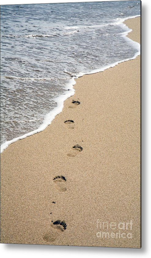 Sandy Footprints Metal Print featuring the photograph Footprints In Sand by Carol Barrington