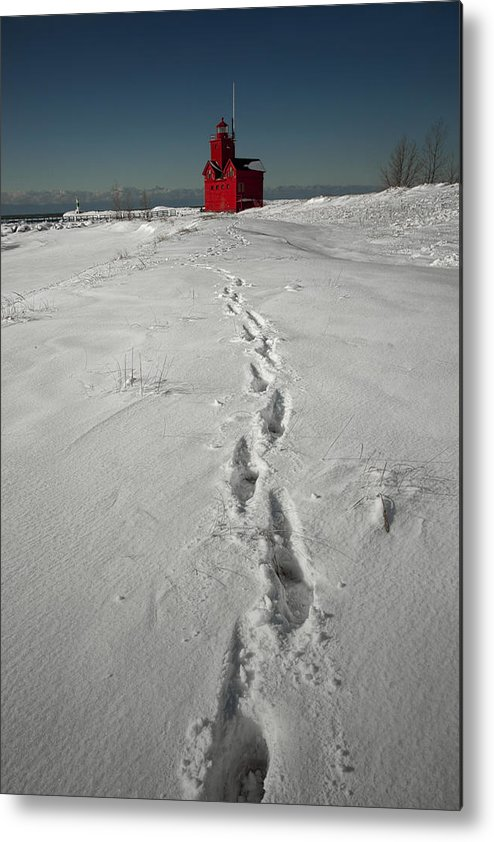 Art Metal Print featuring the photograph Footprints Leading From The Lighthouse Big Red During Winter by Randall Nyhof